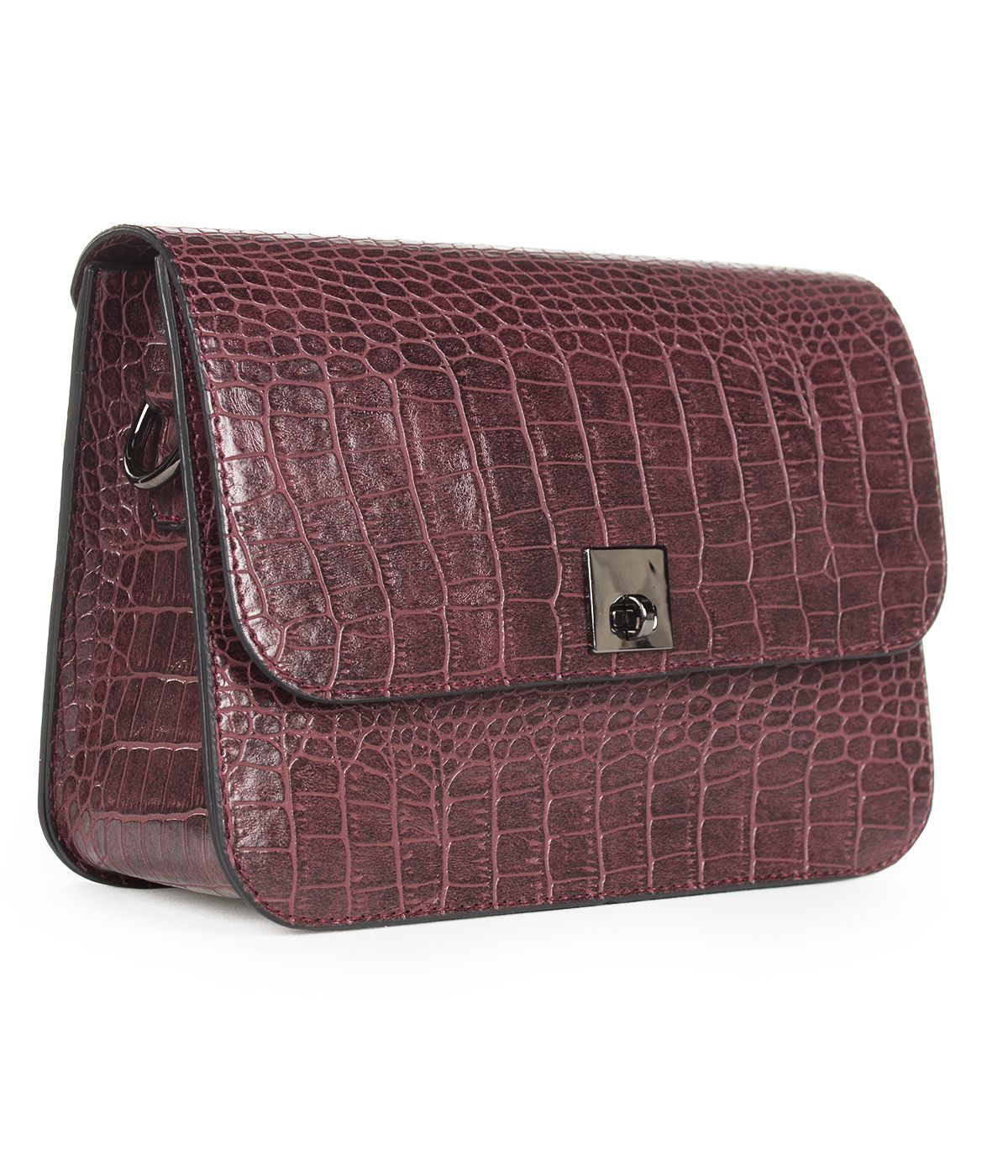 LEATHER BORDO  BAG WITH SNAKE SKIN IMITATION  0