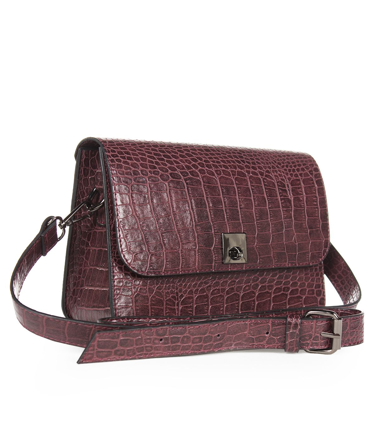 LEATHER BORDO  BAG WITH SNAKE SKIN IMITATION  2