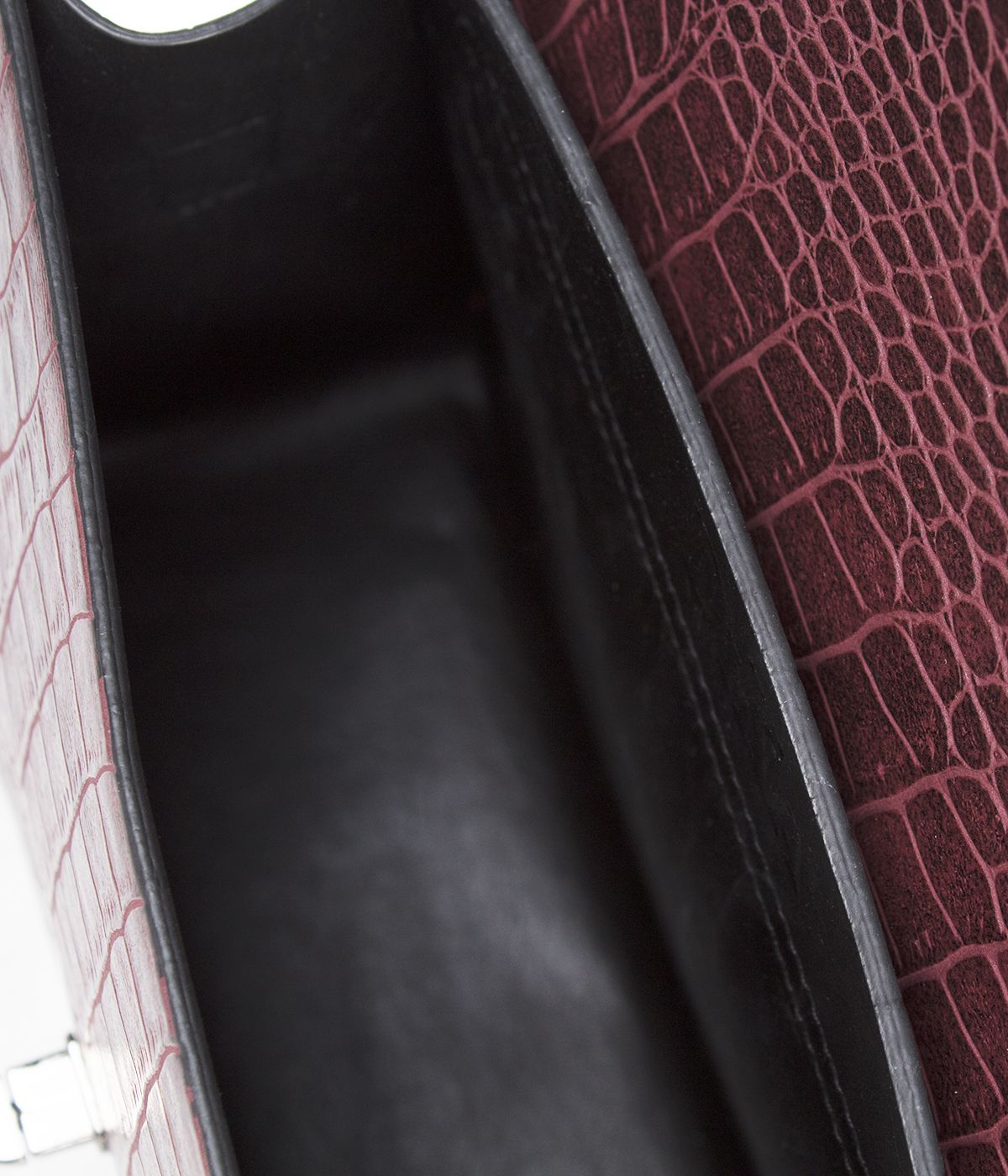 LEATHER BORDO  BAG WITH SNAKE SKIN IMITATION  3