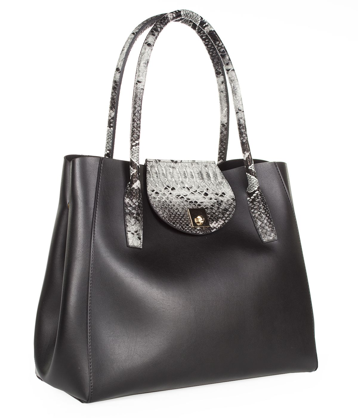 LEATHER BAG WITH SNAKE SKIN IMITATION  0