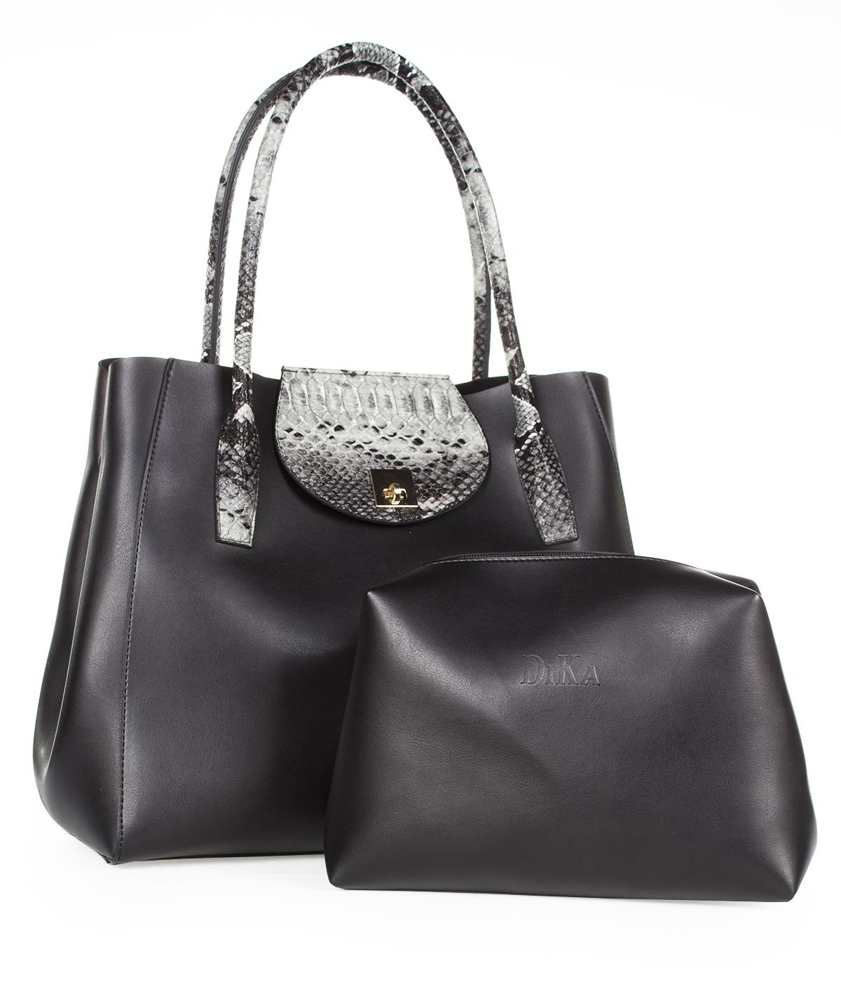 LEATHER BAG WITH SNAKE SKIN IMITATION  2