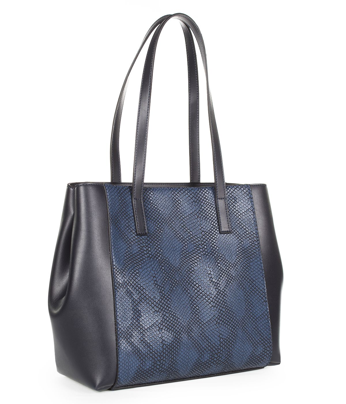 LEATHER BLUE BAG WITH SNAKE SKIN IMITATION