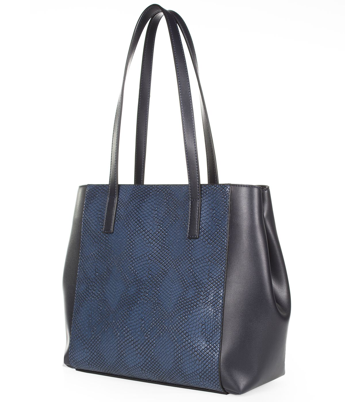 LEATHER BLUE BAG WITH SNAKE SKIN IMITATION  1
