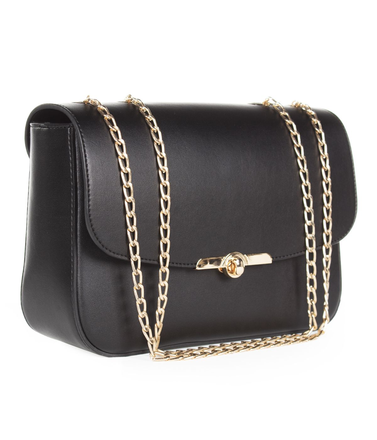 BLACK LEATHER BAG WITH GOLDEN CHAIN AND CLOSURE