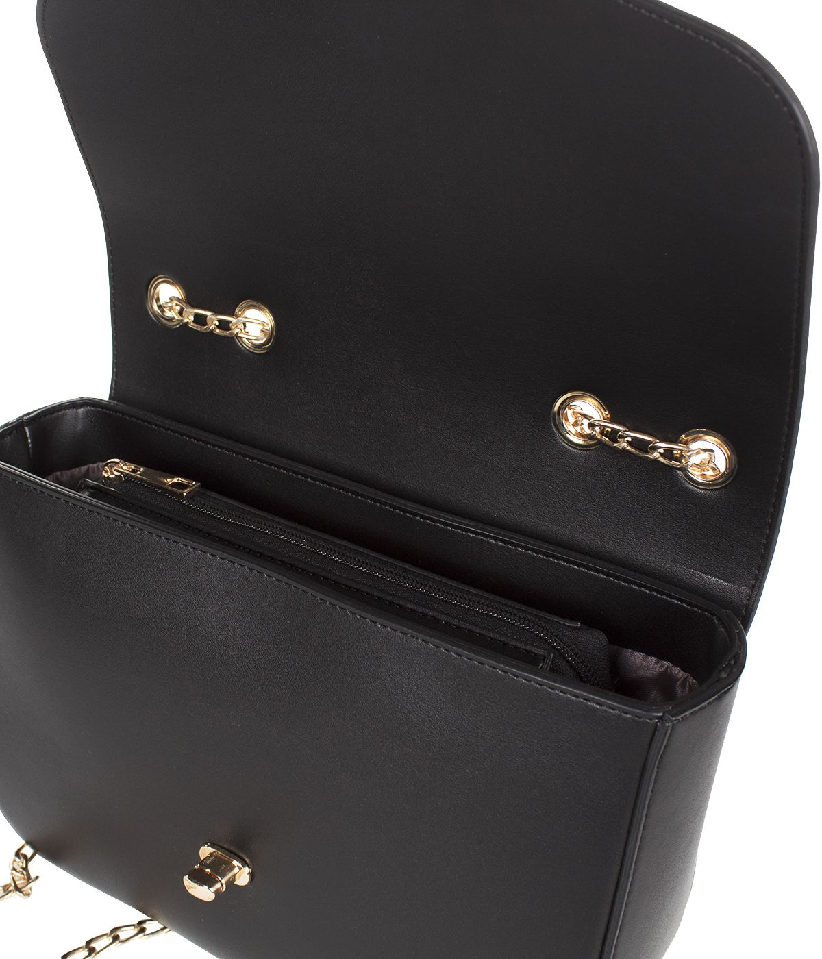BLACK LEATHER BAG WITH GOLDEN CHAIN AND CLOSURE 4