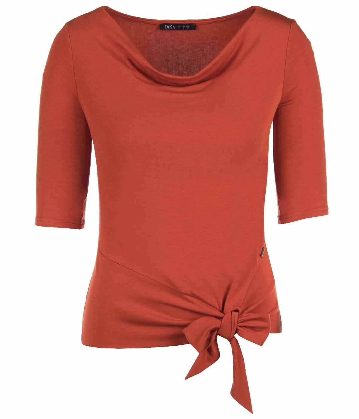JERSEY  BLOUSE WITH ¾ SLEEVES AND FRONT TIED DETAIL 0