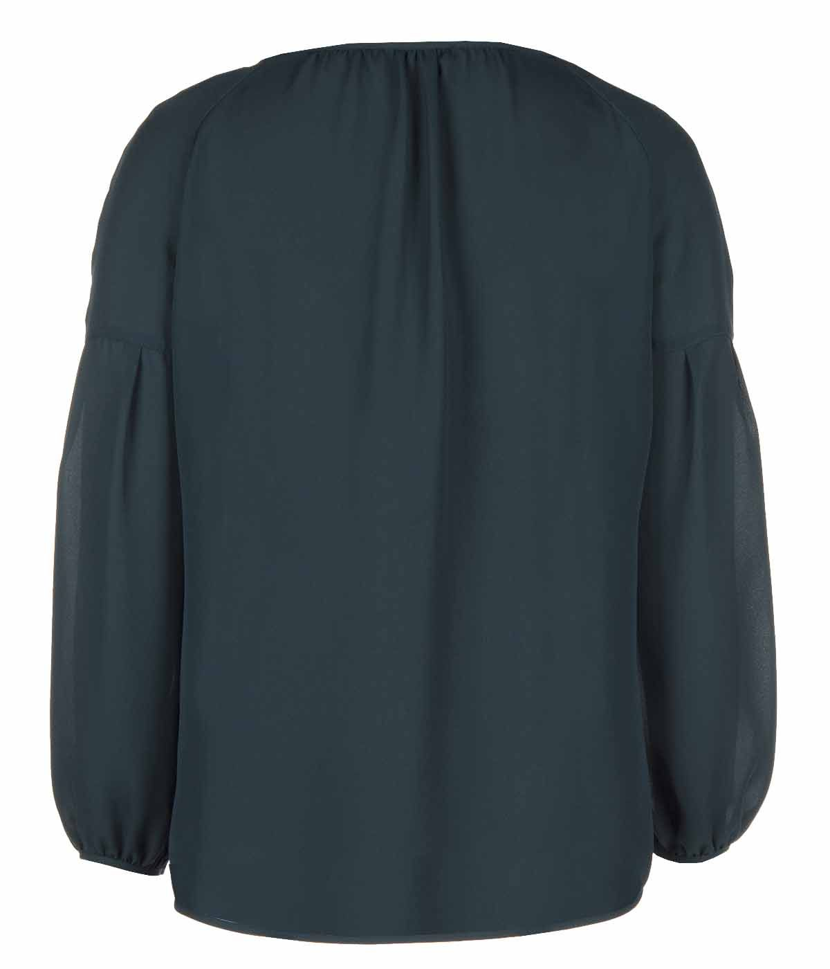 GREEN LONG SLEEVED BLOUSE WITH ROUND NECK 1