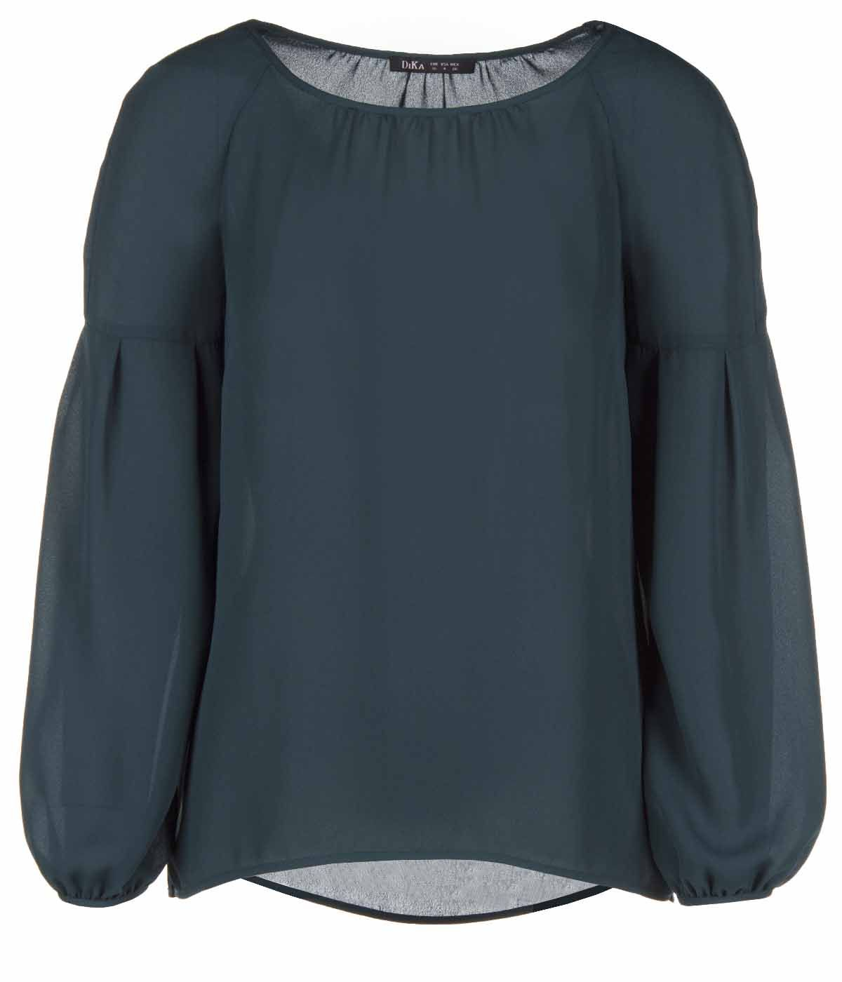 GREEN LONG SLEEVED BLOUSE WITH ROUND NECK 0