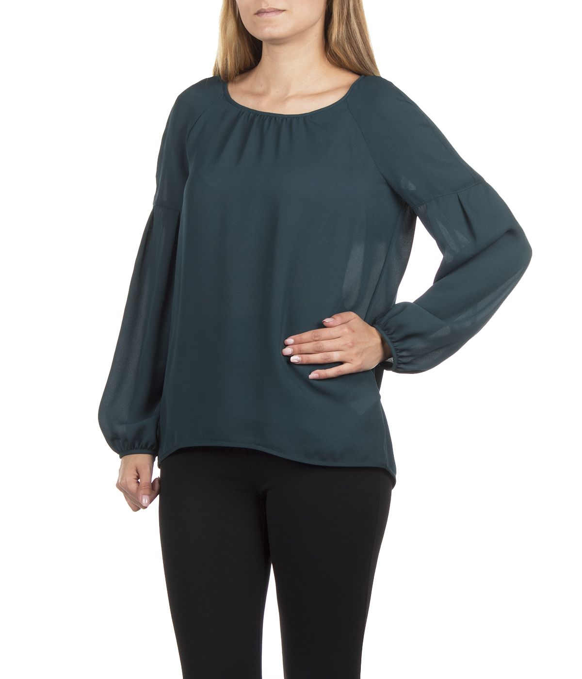 GREEN LONG SLEEVED BLOUSE WITH ROUND NECK 2
