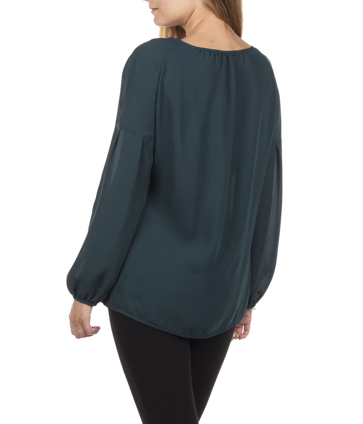 GREEN LONG SLEEVED BLOUSE WITH ROUND NECK 3