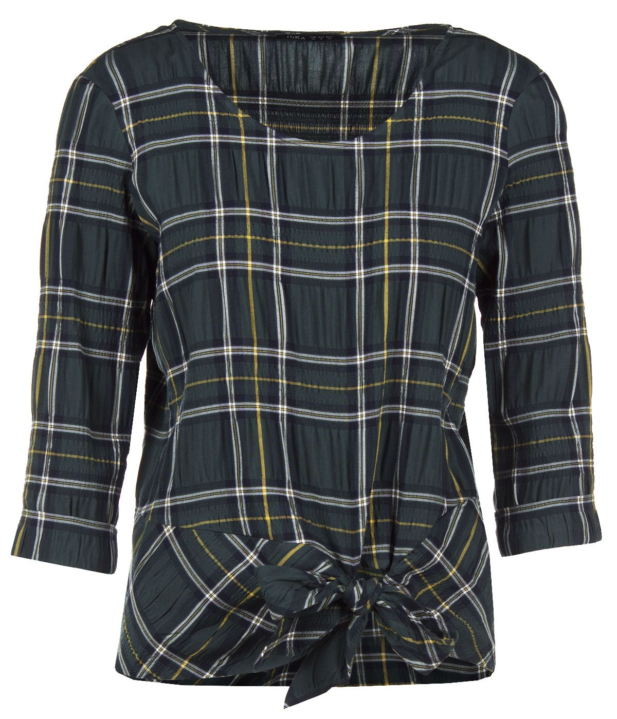 CHECKED BLOUSE FROM VISCOSE WITH ¾ SLEEVES AND TIED DETAIL 0