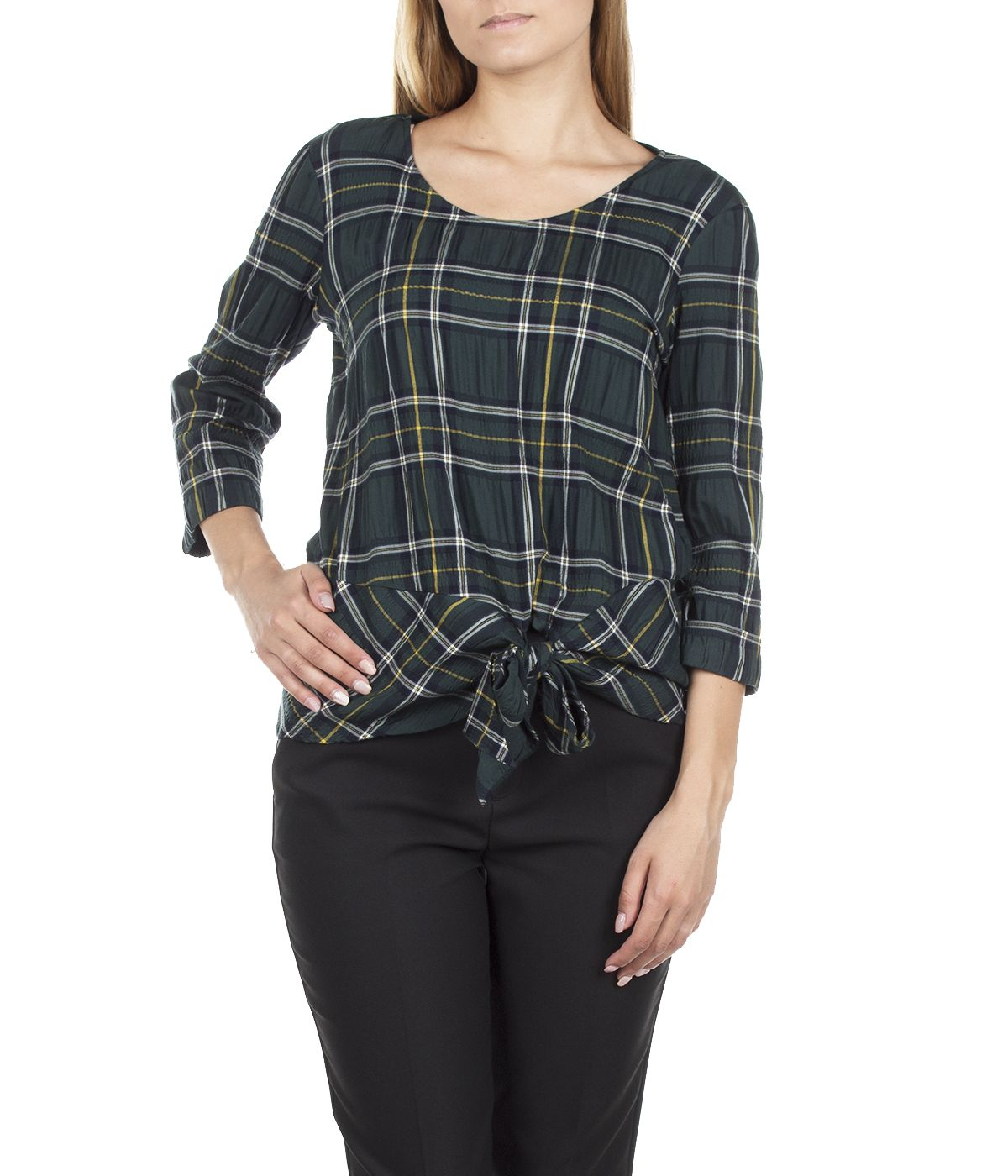 CHECKED BLOUSE FROM VISCOSE WITH ¾ SLEEVES AND TIED DETAIL 2