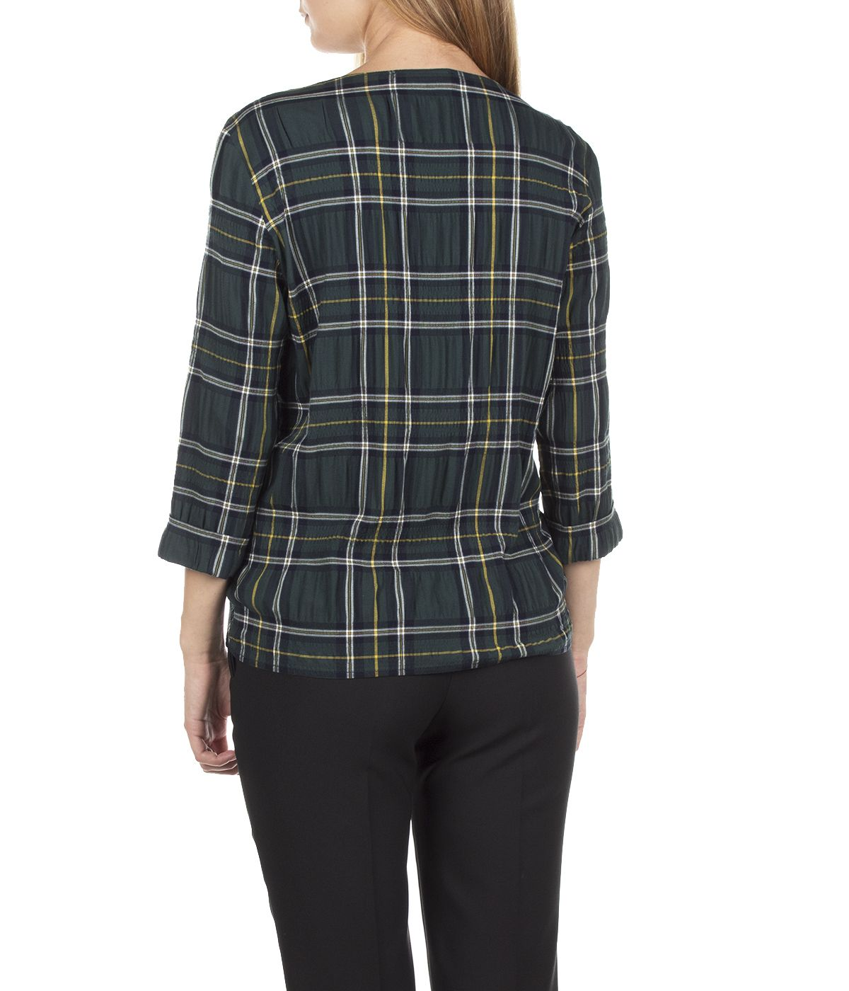 CHECKED BLOUSE FROM VISCOSE WITH ¾ SLEEVES AND TIED DETAIL 3