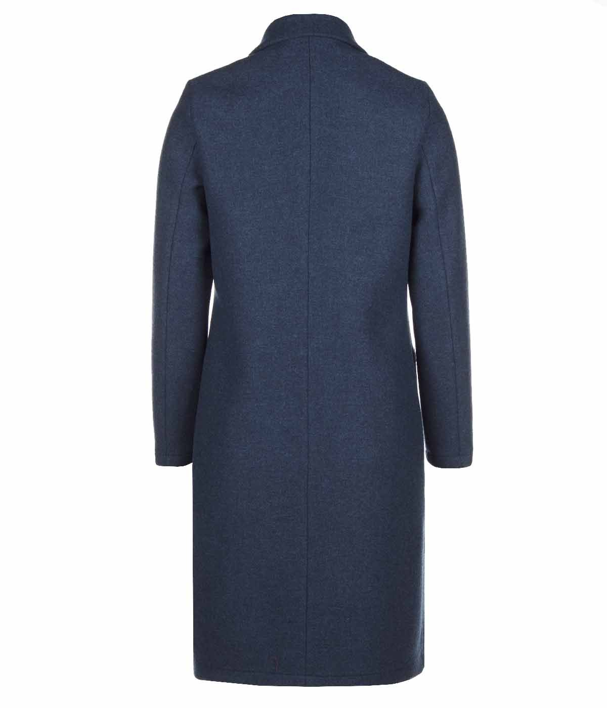 DARK BLUE WOOL COAT WITH ASYMMETRIC CLOSURE 1