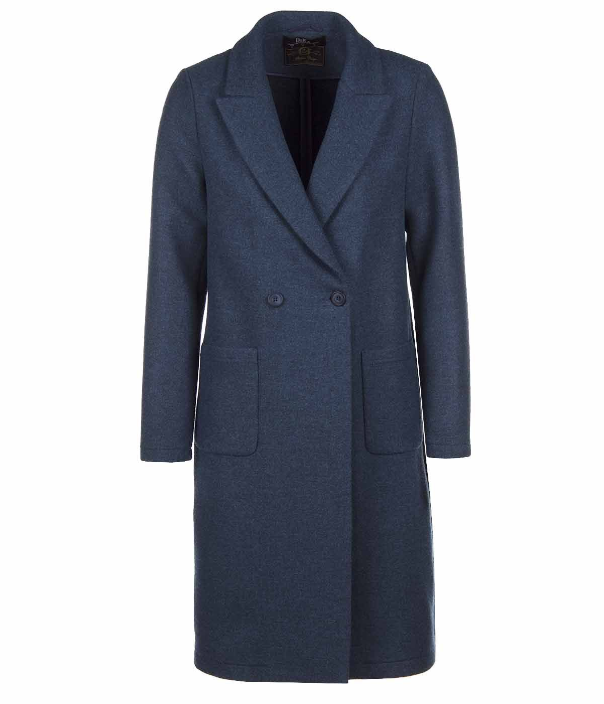 DARK BLUE WOOL COAT WITH ASYMMETRIC CLOSURE 0