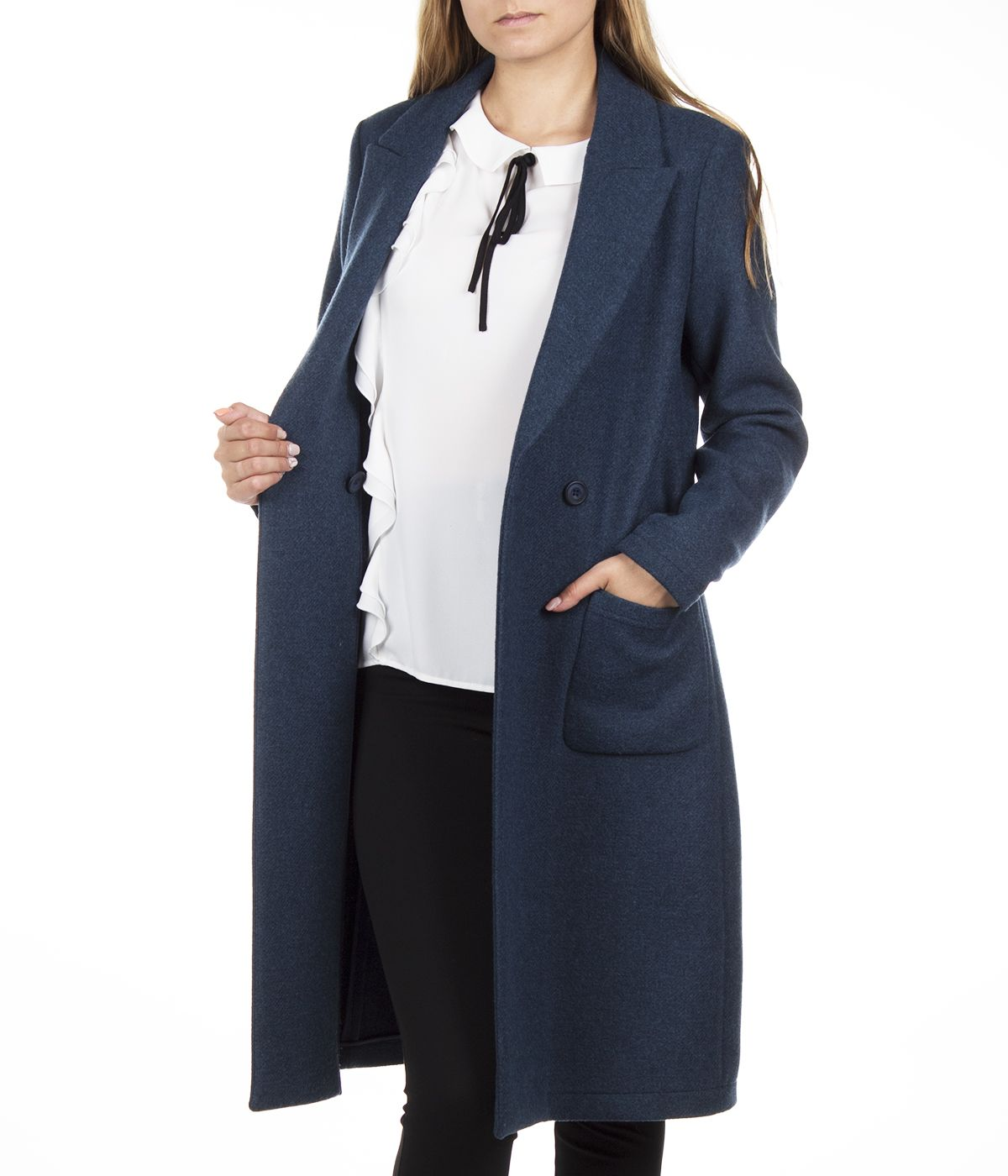 DARK BLUE WOOL COAT WITH ASYMMETRIC CLOSURE 3