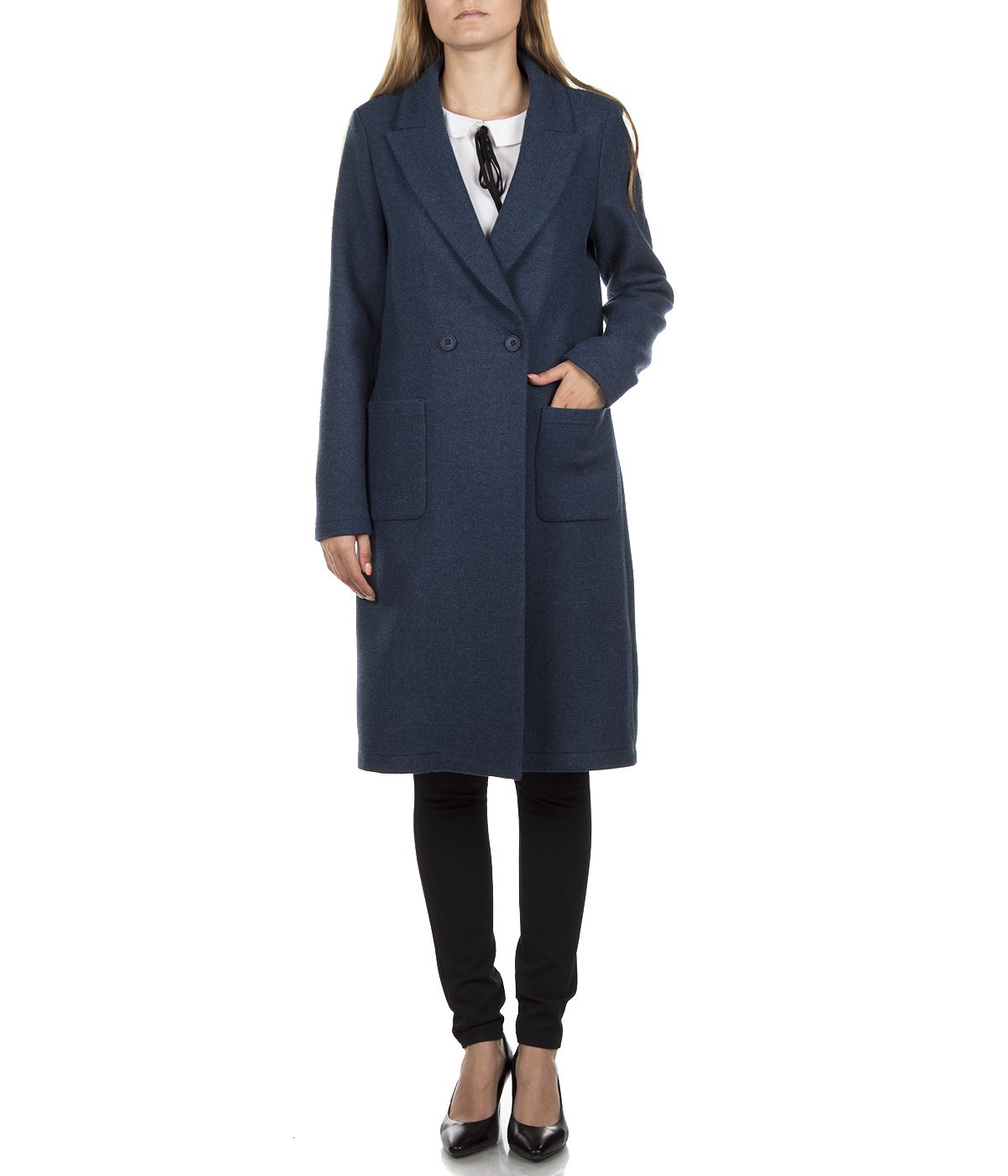 DARK BLUE WOOL COAT WITH ASYMMETRIC CLOSURE 2