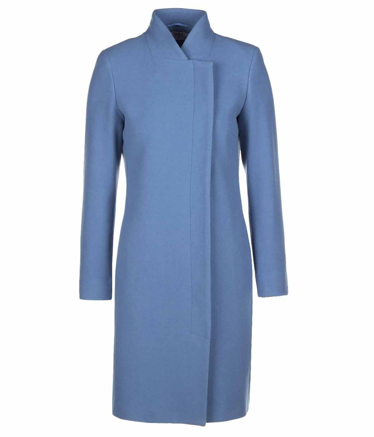 BLUE WOOL COAT WITH SIDED CONCEALED CLOSURE 0