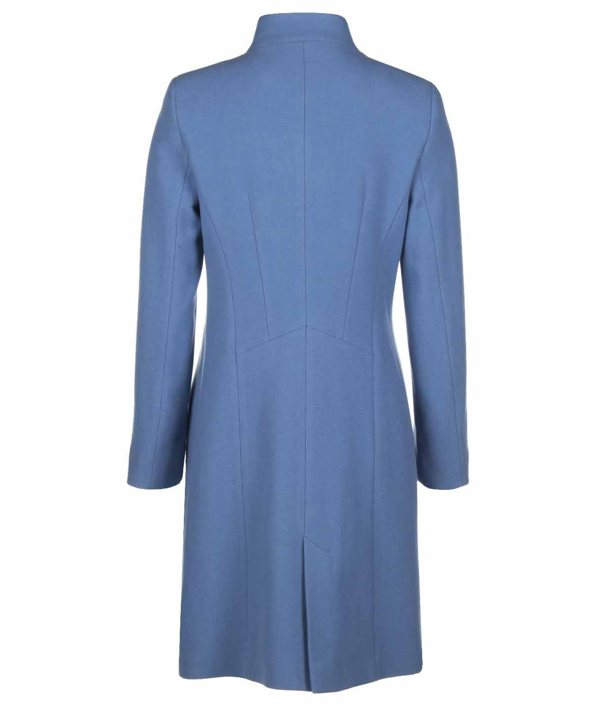 BLUE WOOL COAT WITH SIDED CONCEALED CLOSURE 1