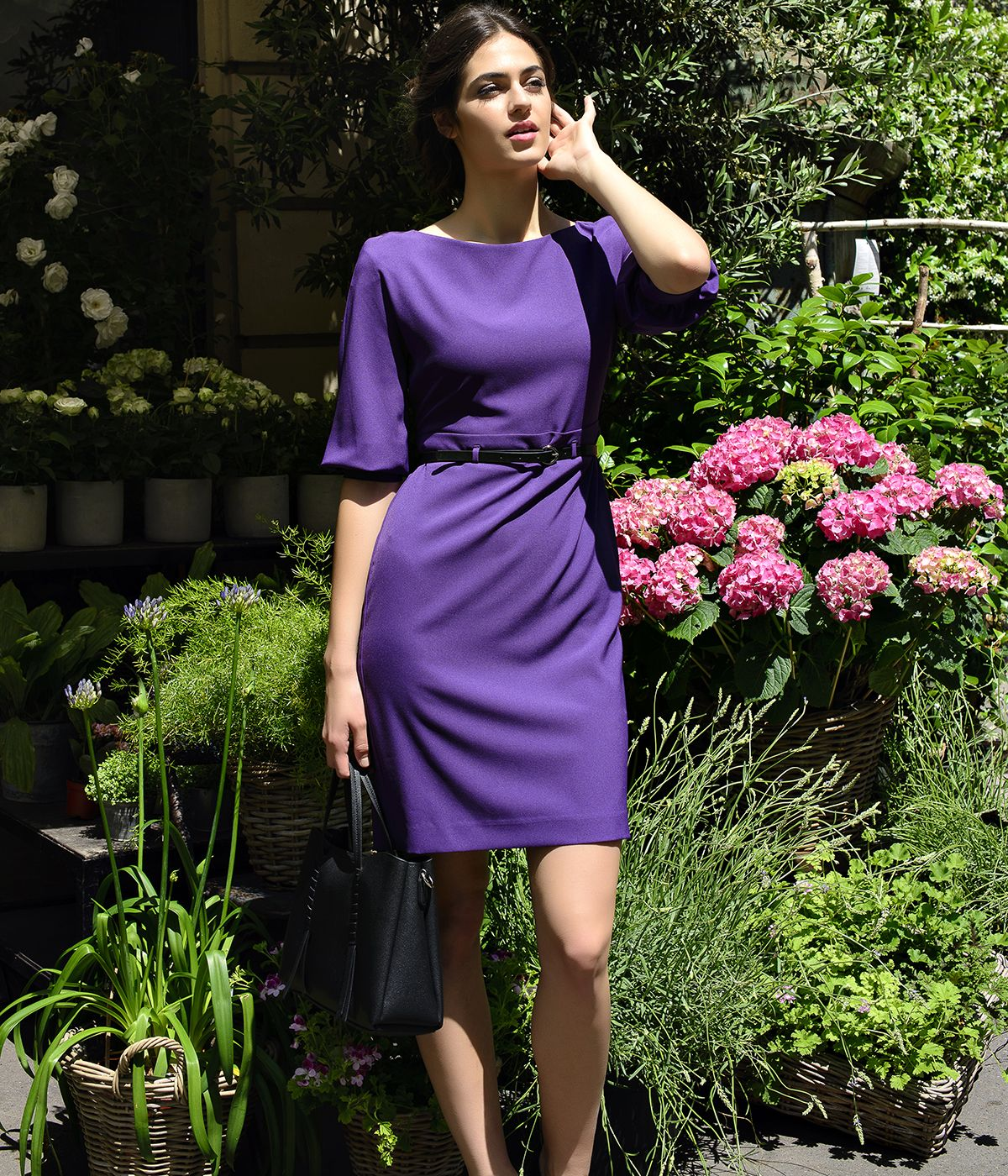 PURPLE LONG SLEEVES DRESS WITH LEATHER BELT 4
