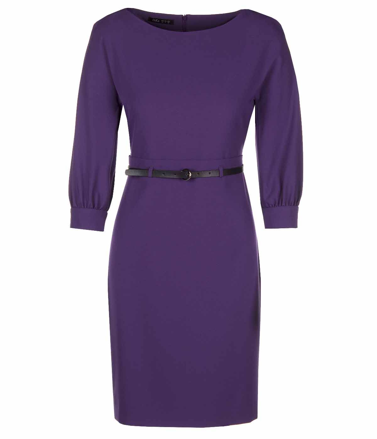 PURPLE LONG SLEEVES DRESS WITH LEATHER BELT 0