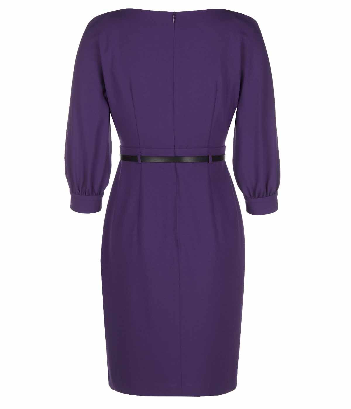PURPLE LONG SLEEVES DRESS WITH LEATHER BELT 1