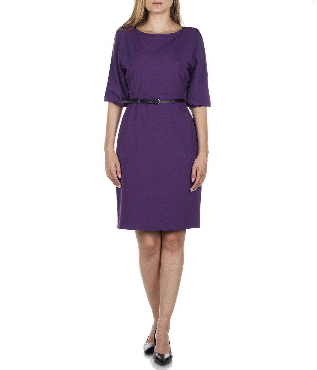 PURPLE LONG SLEEVES DRESS WITH LEATHER BELT 2