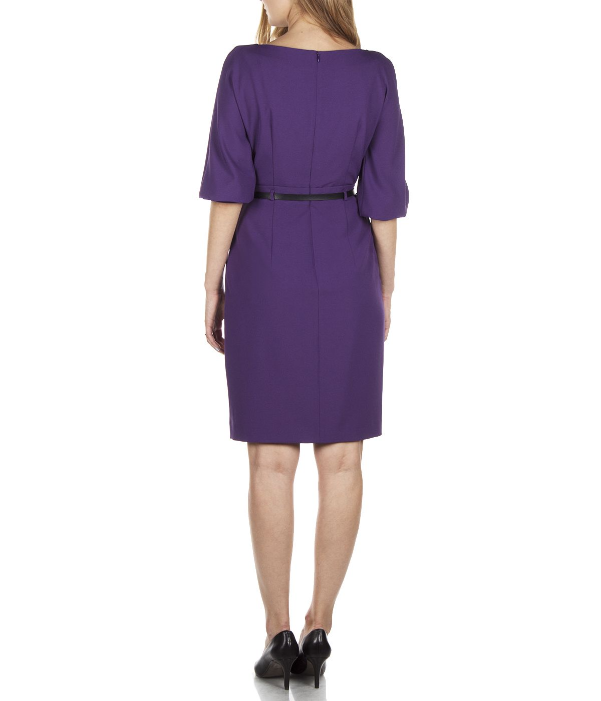 PURPLE LONG SLEEVES DRESS WITH LEATHER BELT 3