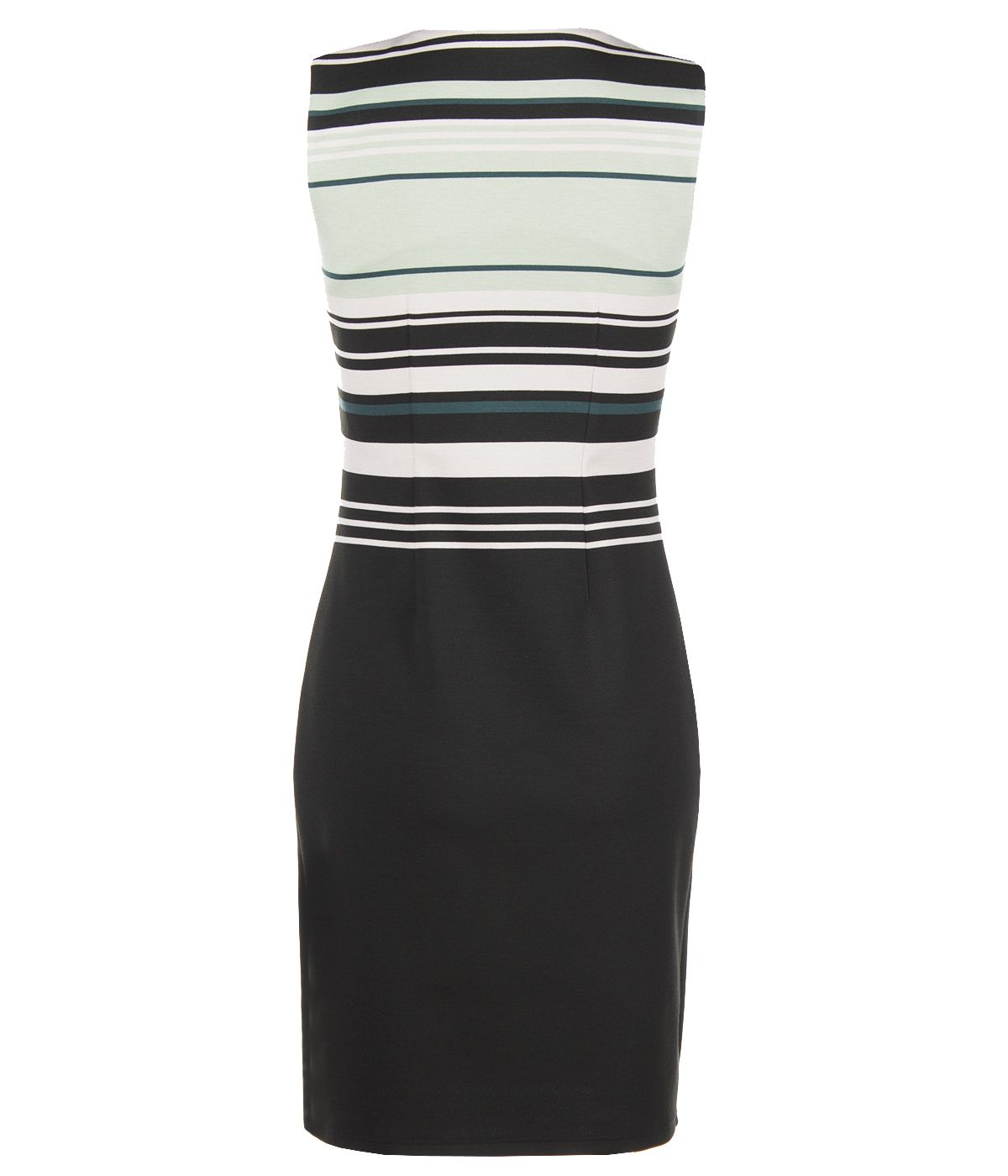 PENCIL SLEEVELESS DRESS WITH STRIPES AND ROUND NECKLINE 1
