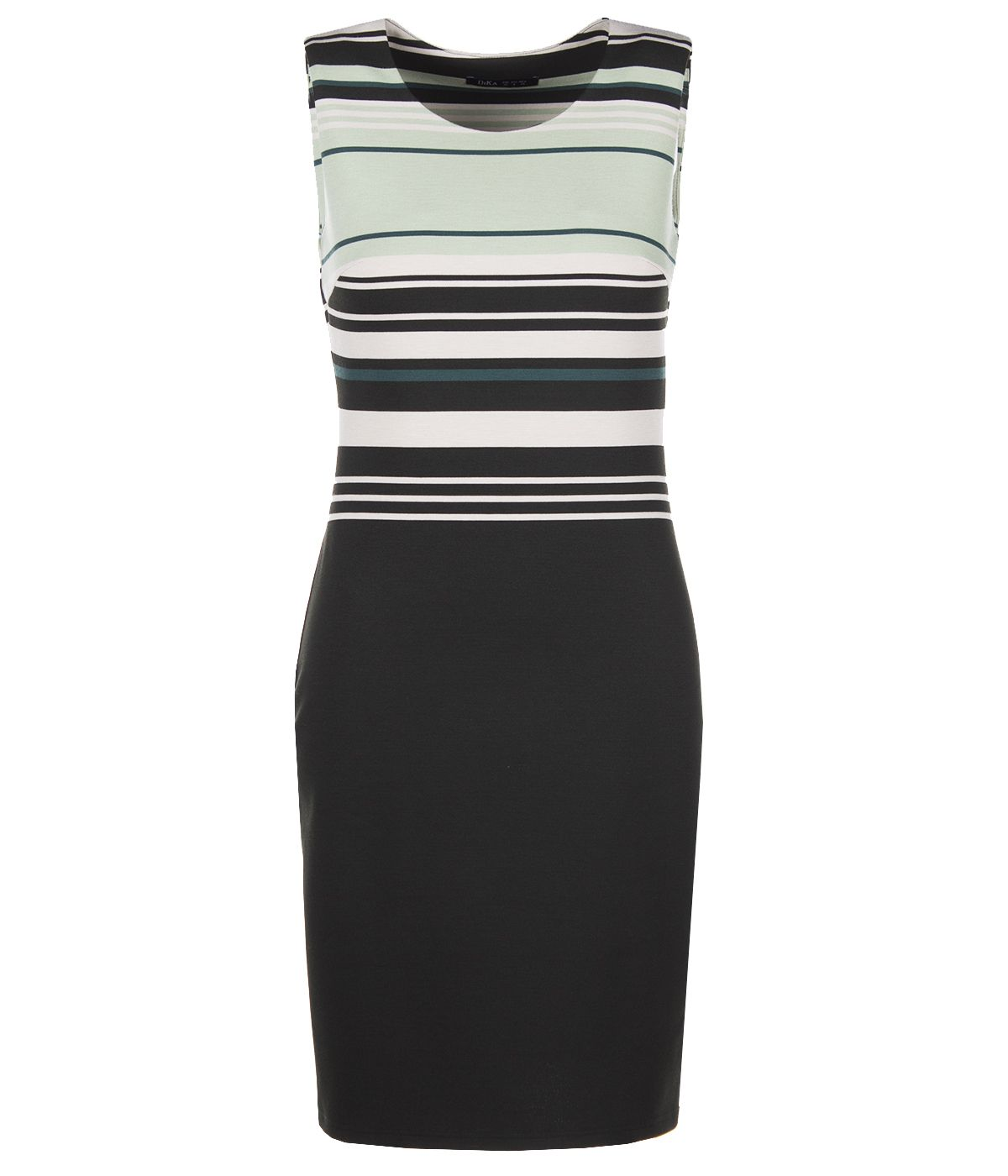 PENCIL SLEEVELESS DRESS WITH STRIPES AND ROUND NECKLINE 0