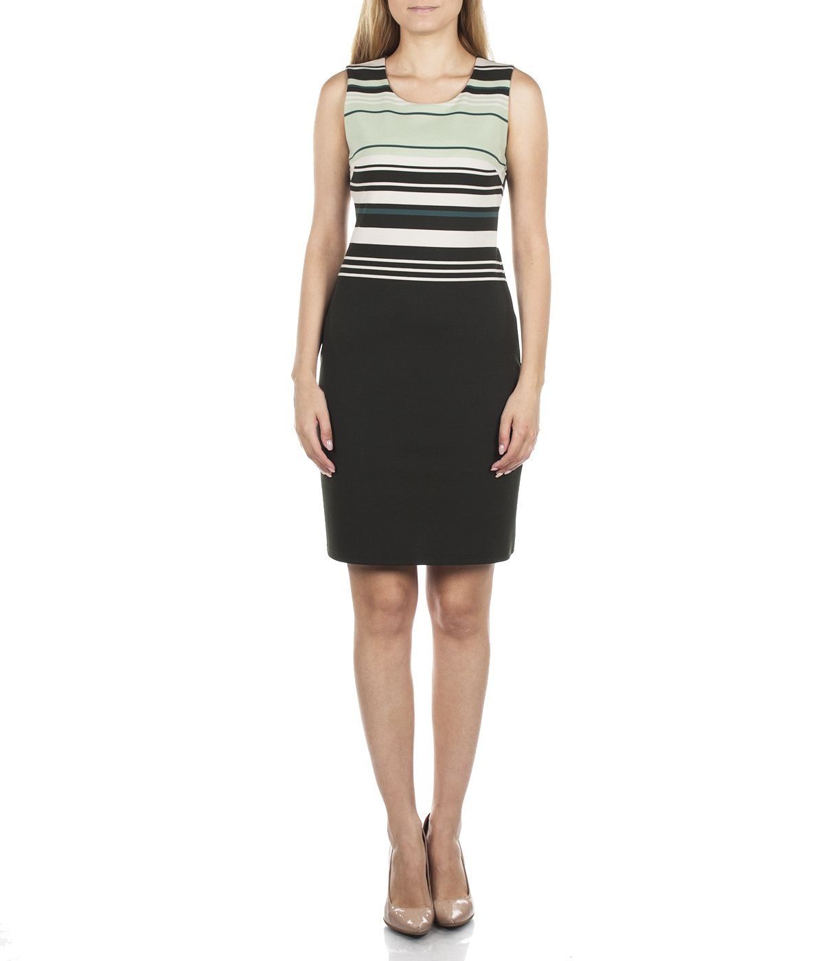 PENCIL SLEEVELESS DRESS WITH STRIPES AND ROUND NECKLINE 2