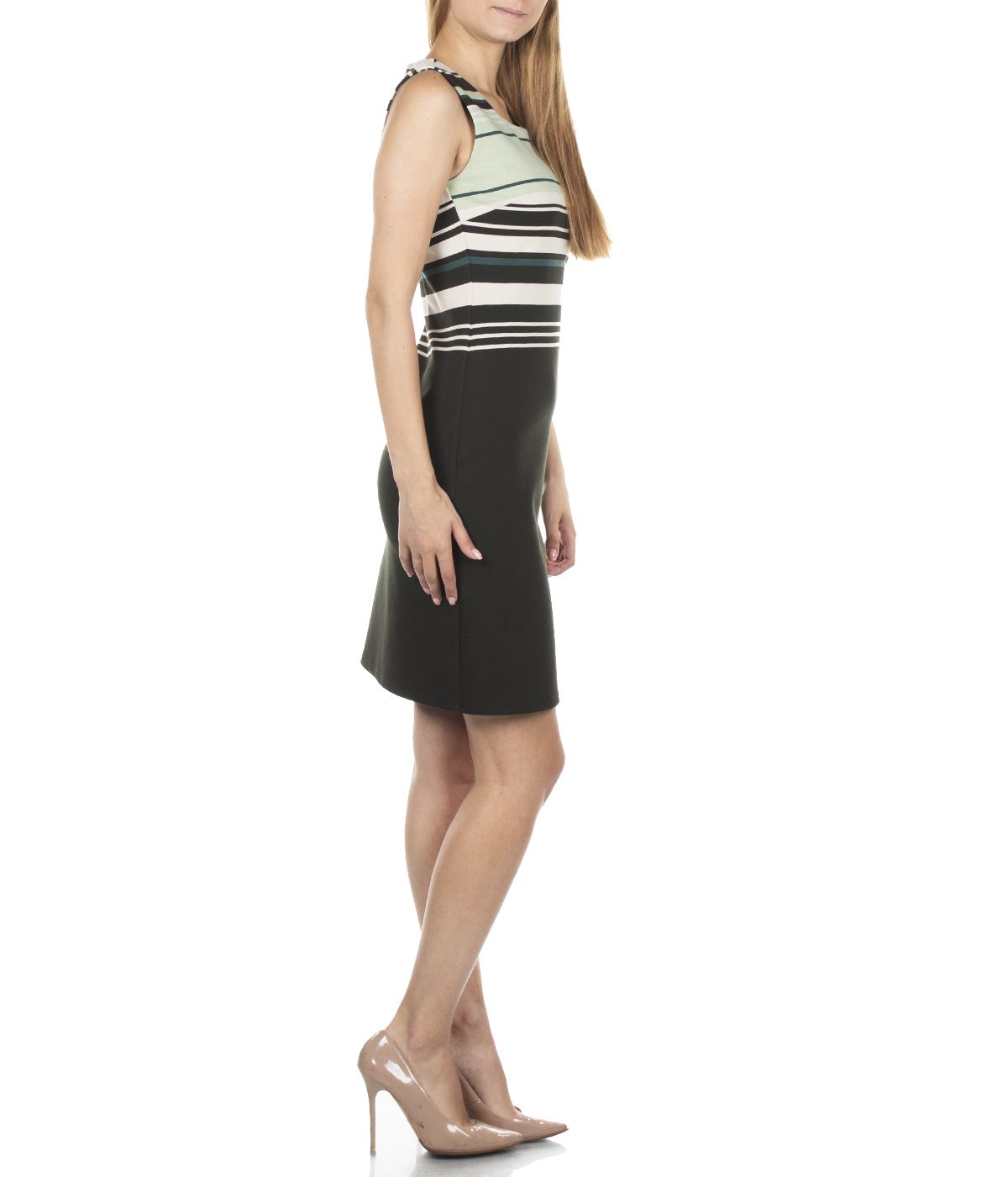 PENCIL SLEEVELESS DRESS WITH STRIPES AND ROUND NECKLINE 3