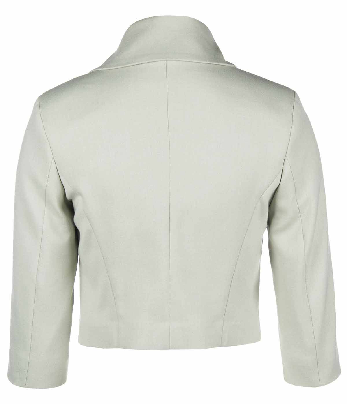 PALE GREEN BOLERO WITH ASYMMETRIC FRONT CLOSURE 1