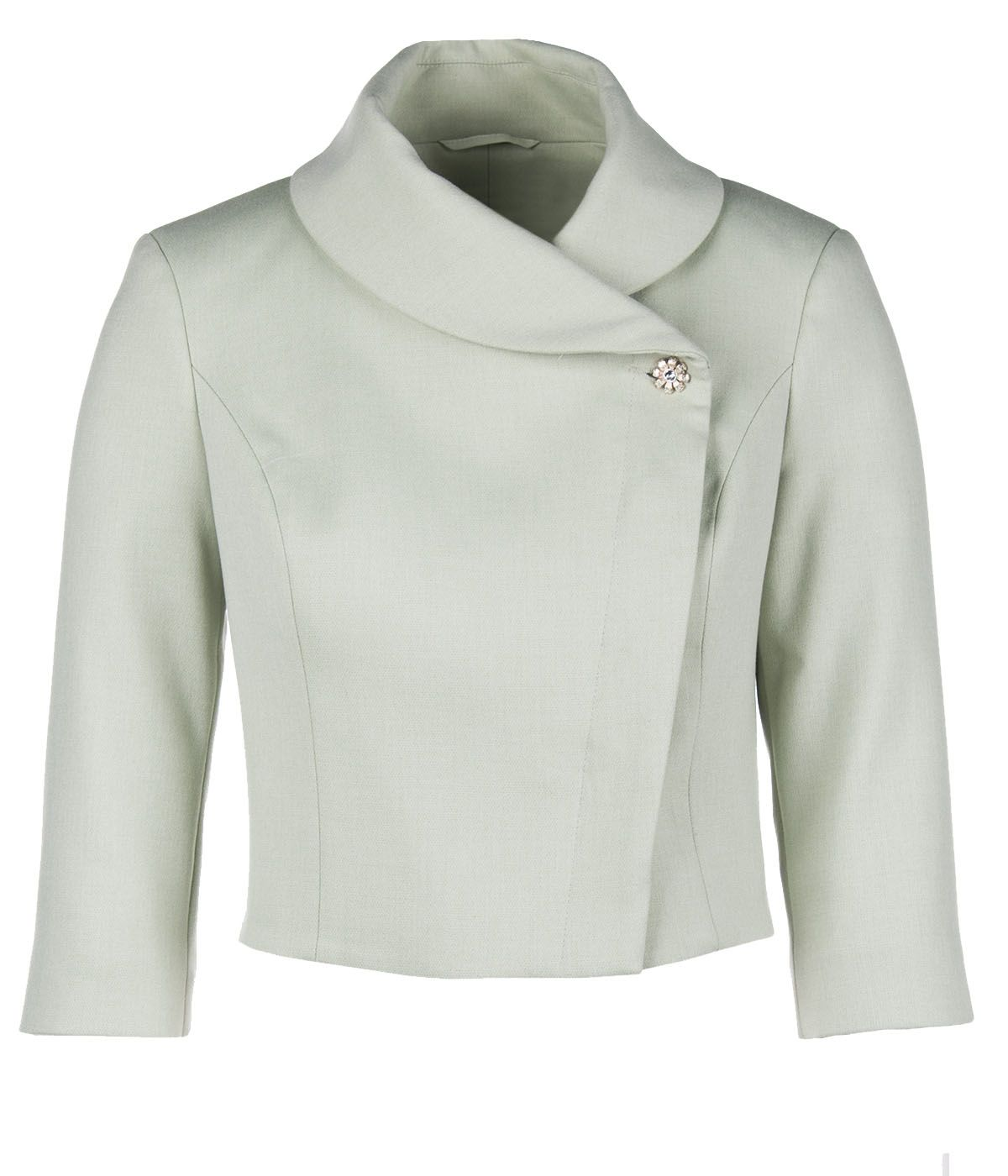 PALE GREEN BOLERO WITH ASYMMETRIC FRONT CLOSURE 0