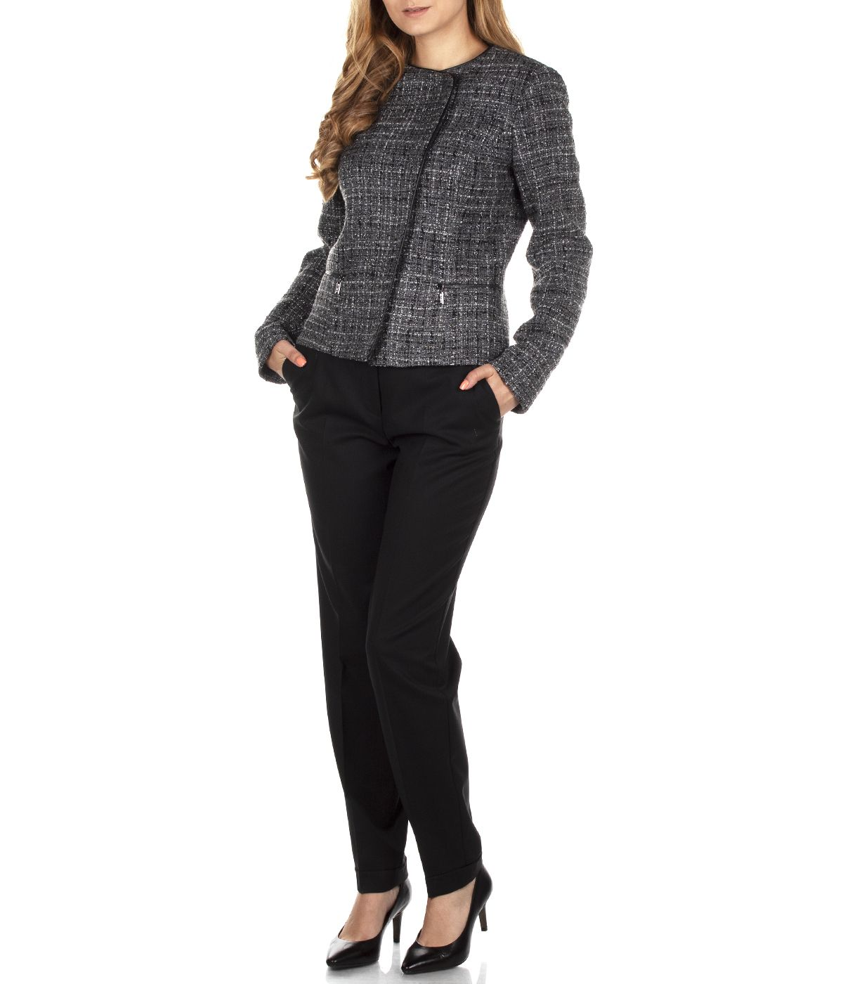 SHORT JACKET WITH ASYMMETRIC CONCEALED CLOSURE 3