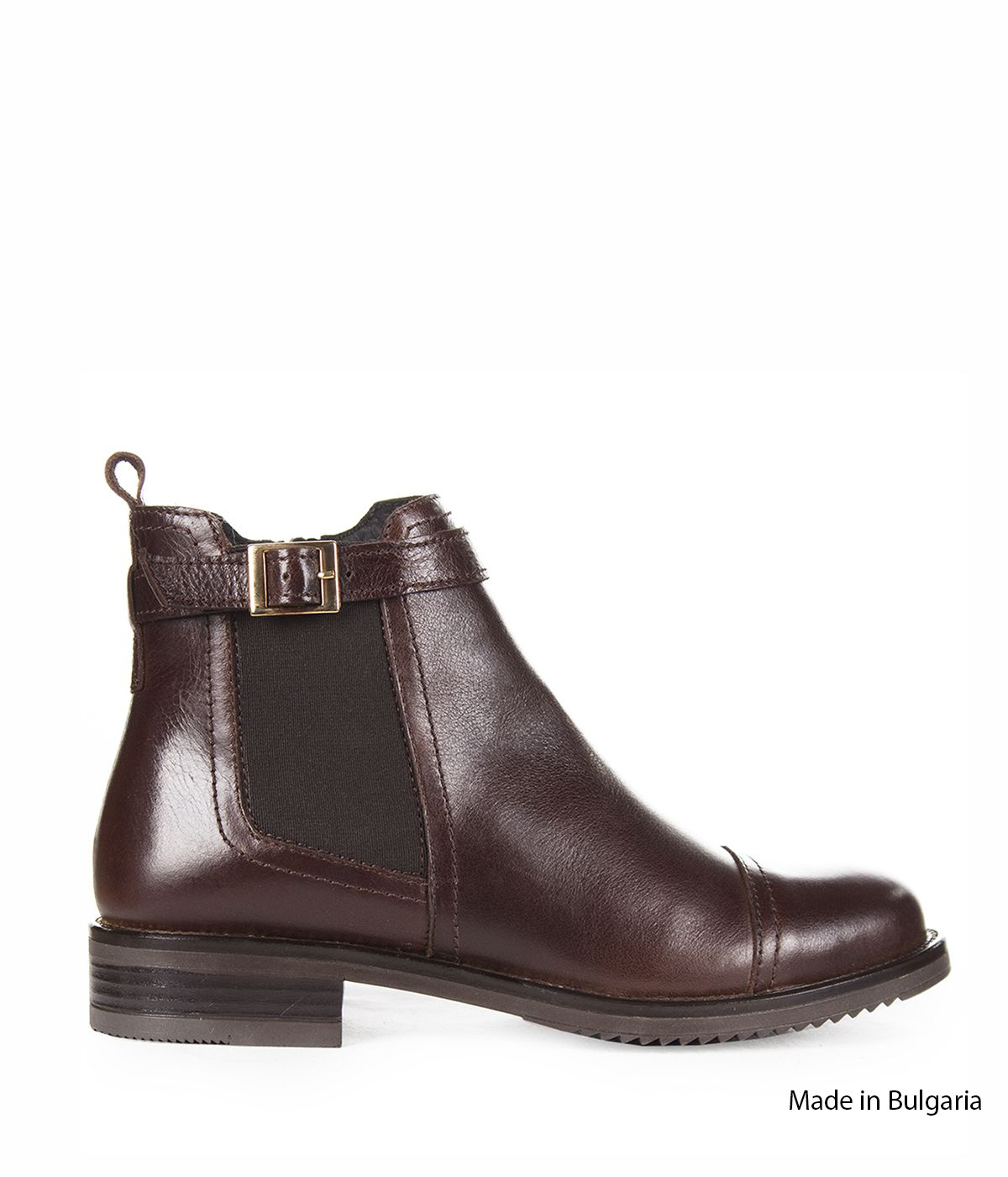 BROWN LEATHER ANKLE BOOTS 0