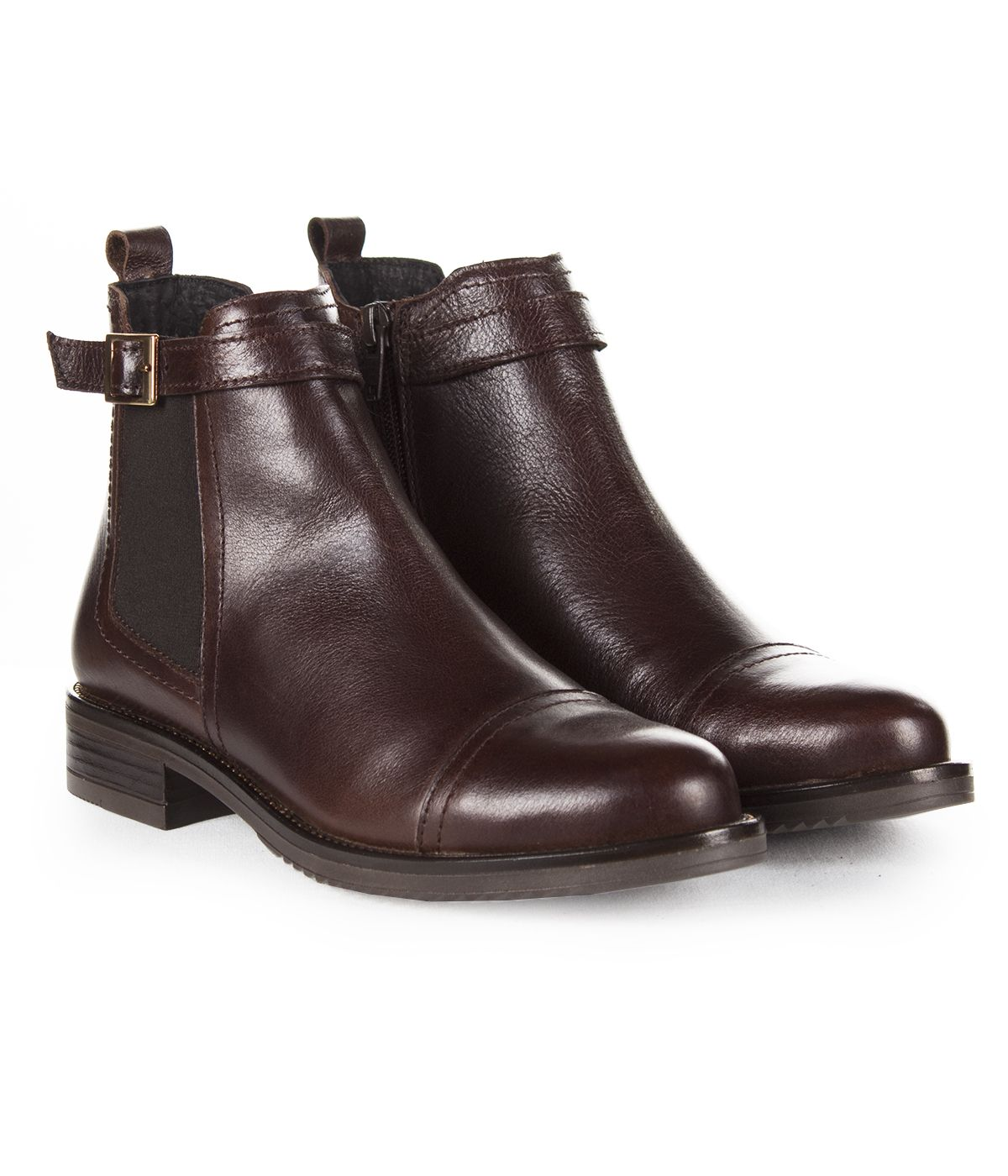 BROWN LEATHER ANKLE BOOTS 1