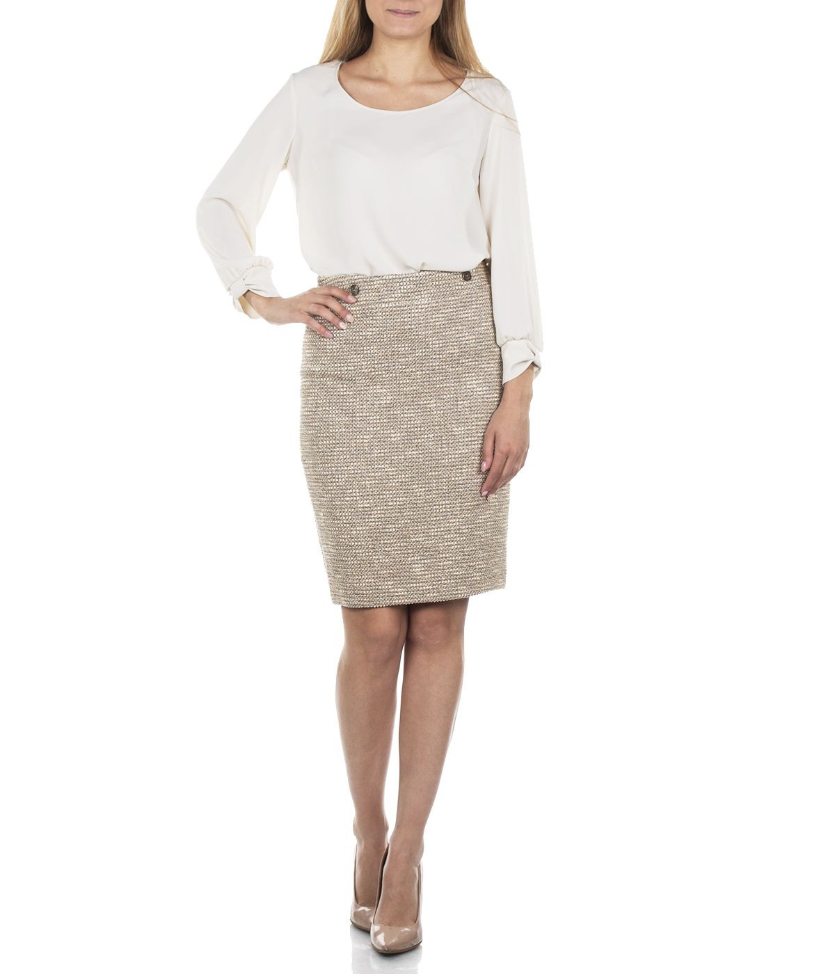 BEIGE PENCIL SKIRT WITH VISCOSE 2