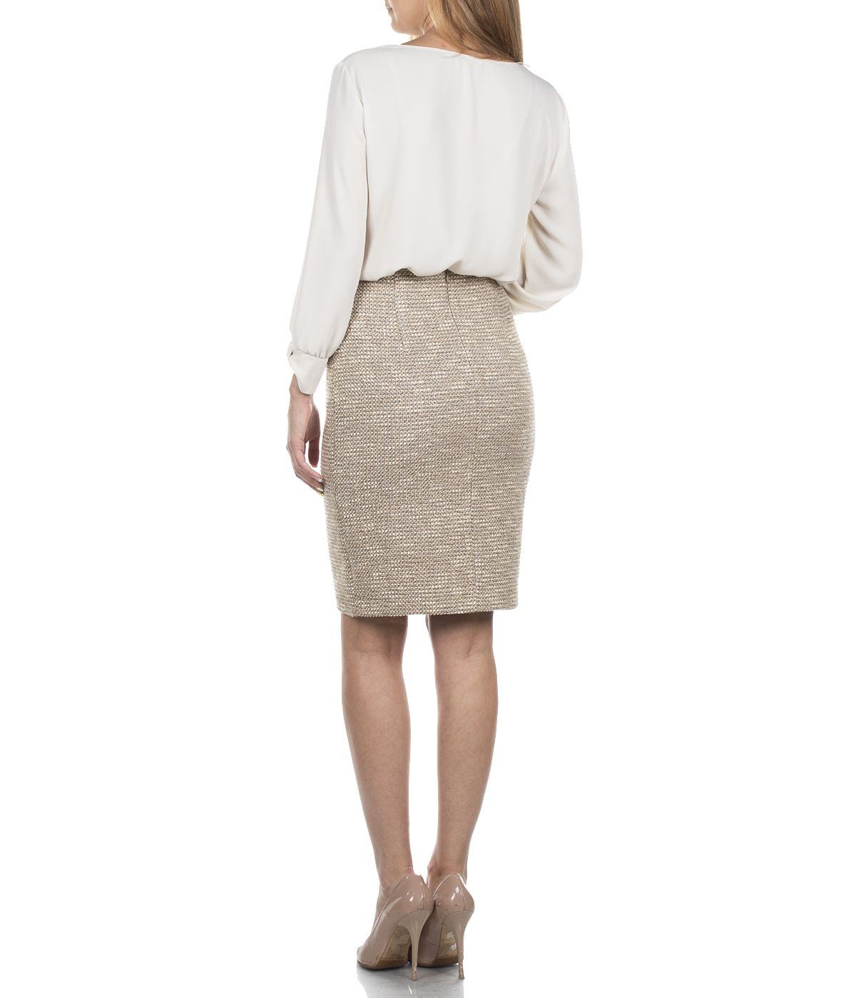 BEIGE PENCIL SKIRT WITH VISCOSE 3