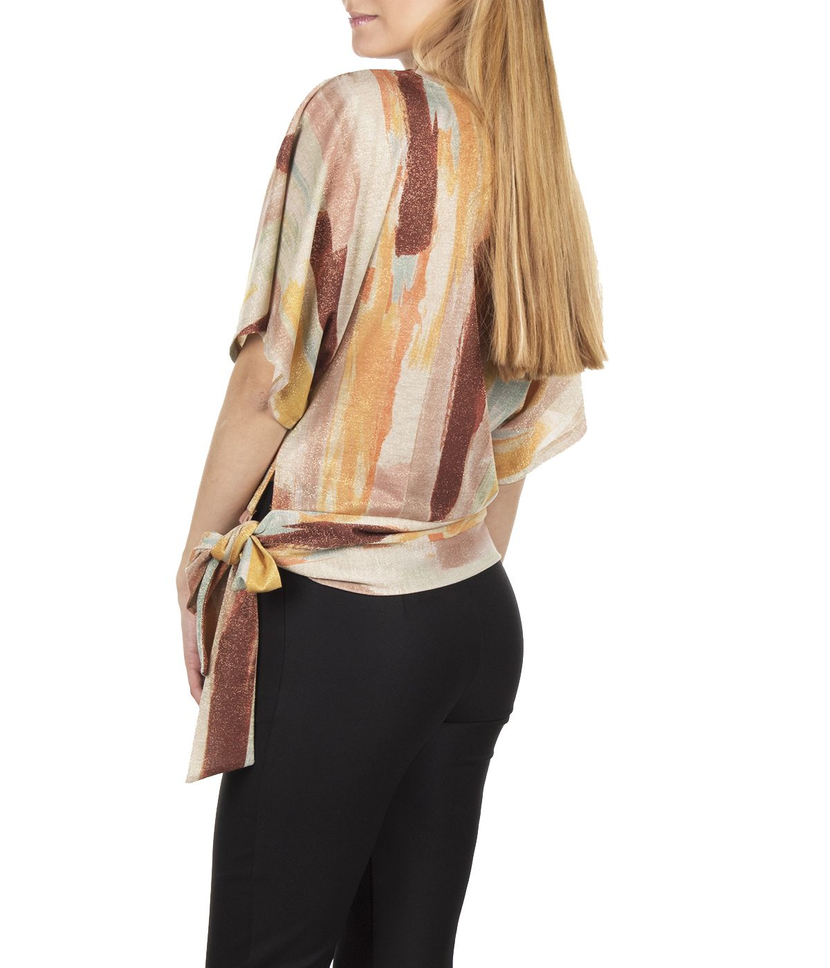 BLOUSE WITH DECORATIVE LINES PRINT AND RIBBON 3