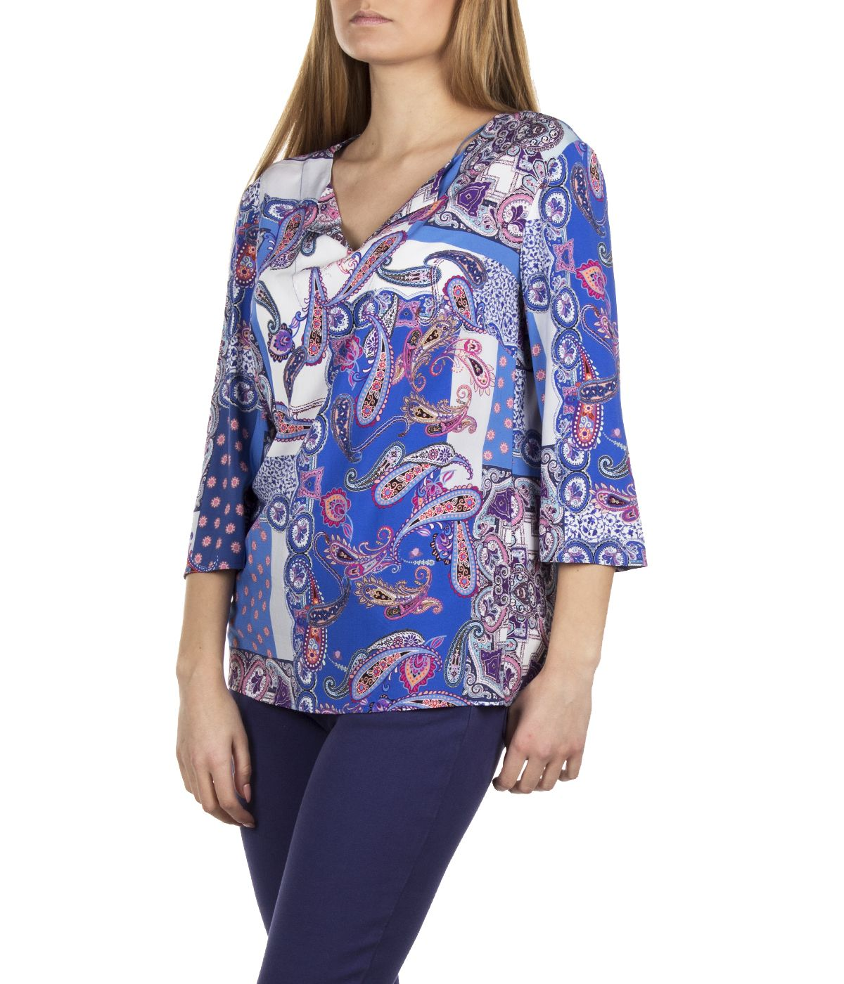 BLOUSE FROM 100% VISCOSE WITH INDIAN AND FLORAL MOTIFS 2