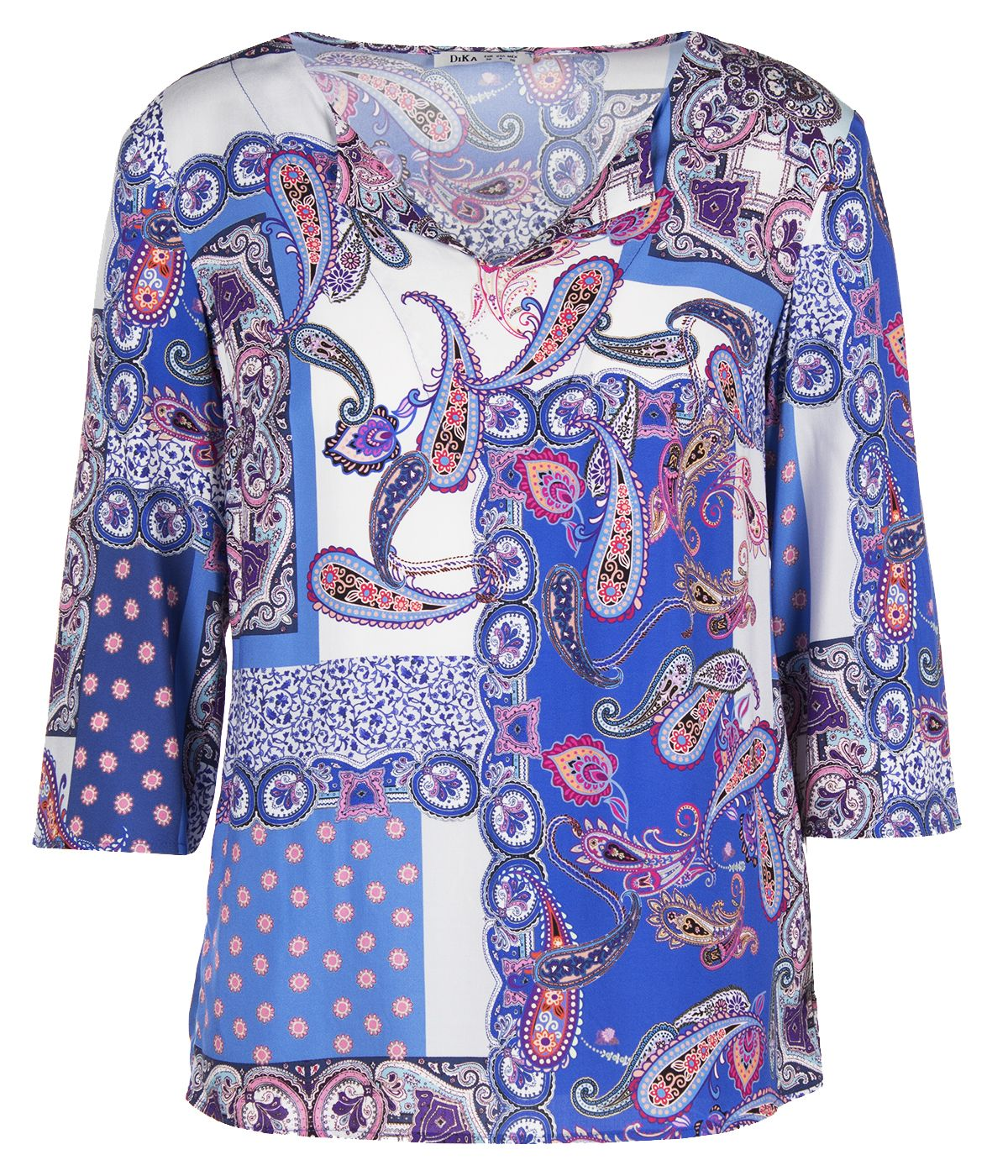 BLOUSE FROM 100% VISCOSE WITH INDIAN AND FLORAL MOTIFS 0