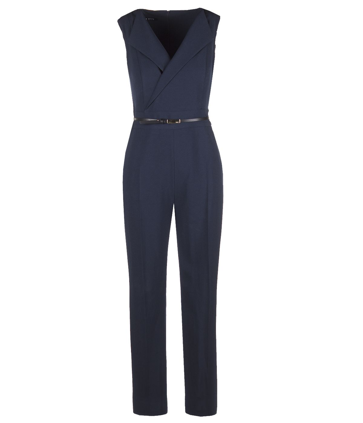 JUMPSUITE WITH COLLAR NECKLINE AND LEATHER BELT  0