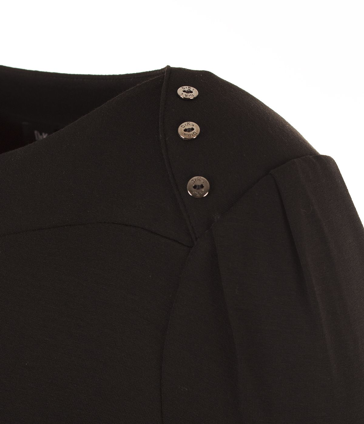 Long-sleeved viscose blouse with metallic buttons on the shoulders 2