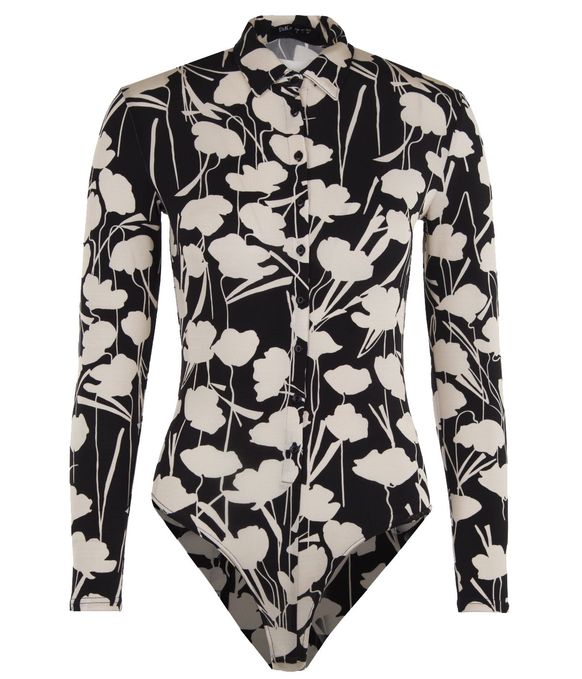 Rayon shirt-bodysuit with floral print 1