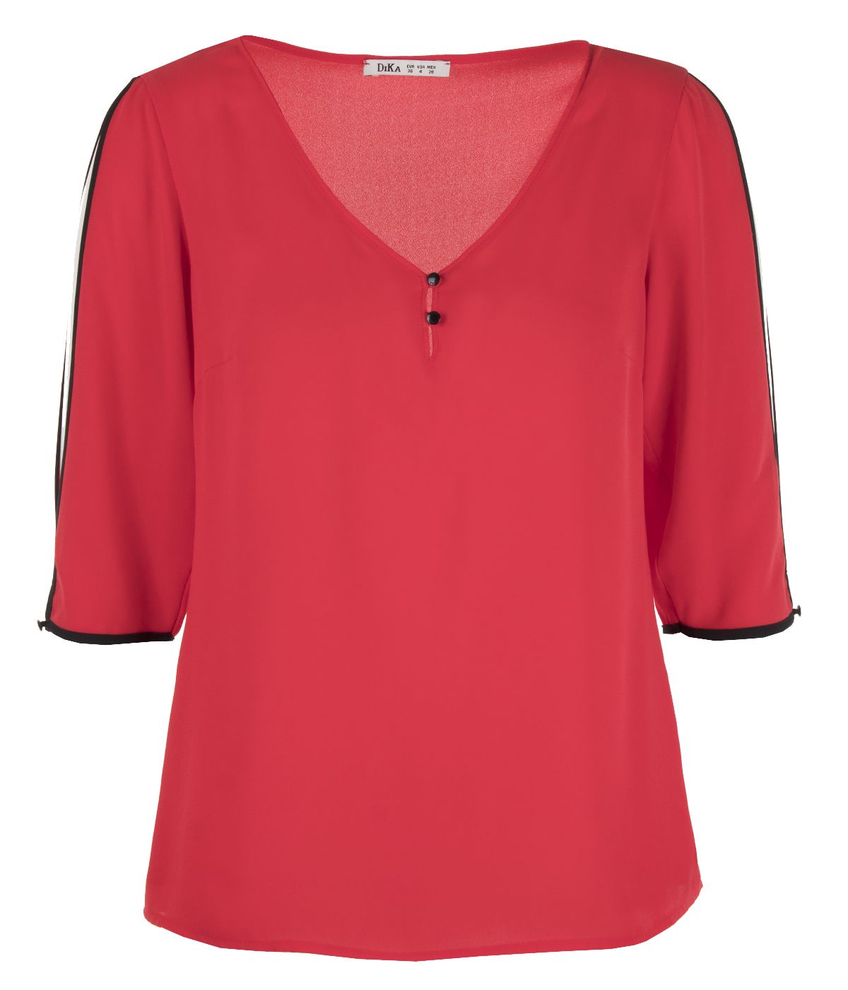 V-neck blouse with 3/4 sleeves