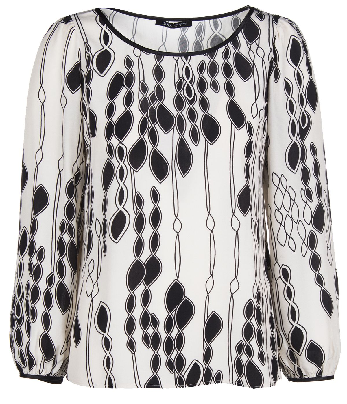 Long-sleeved blouse, round neckline 0