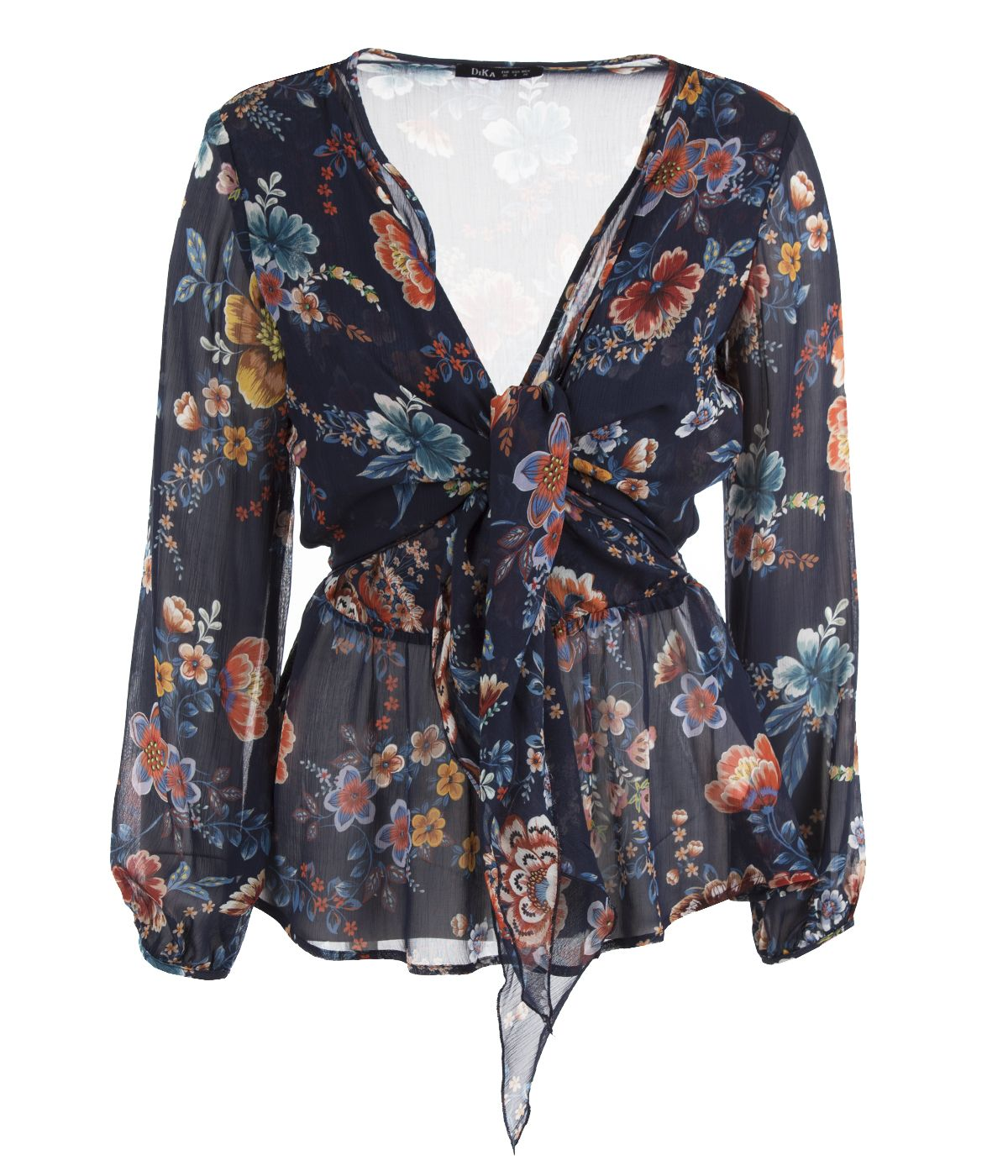 V-neckline blouse with tie-waist cut, 100% rayon, flower print 0