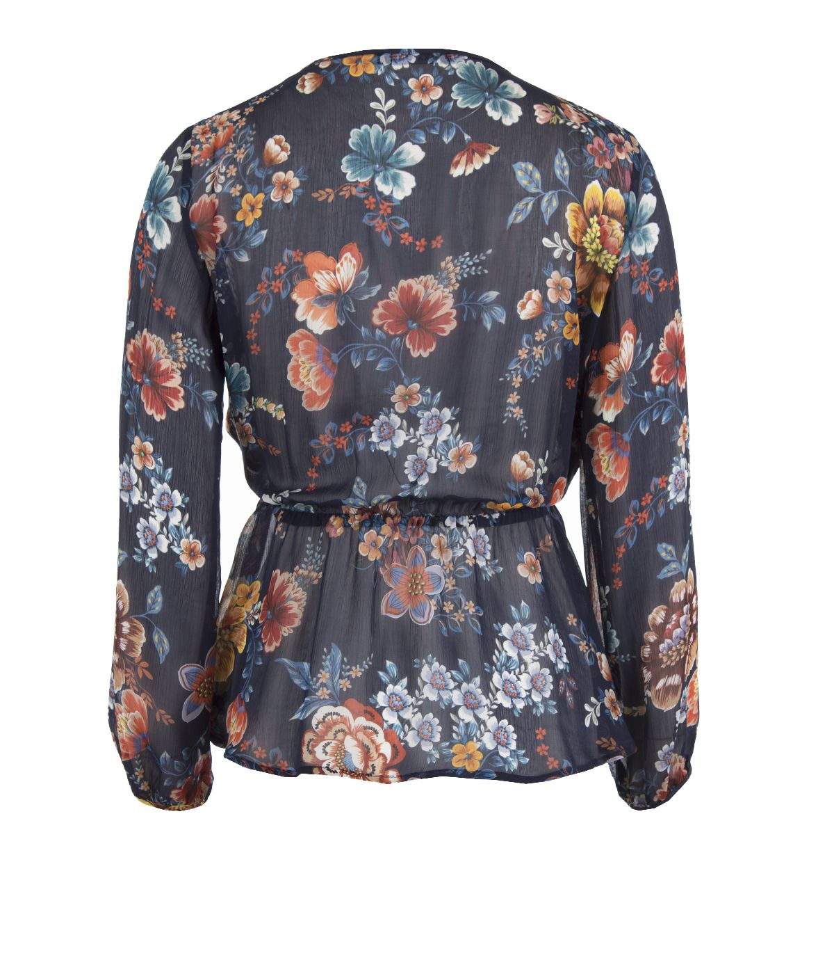 V-neckline blouse with tie-waist cut, 100% rayon, flower print 1
