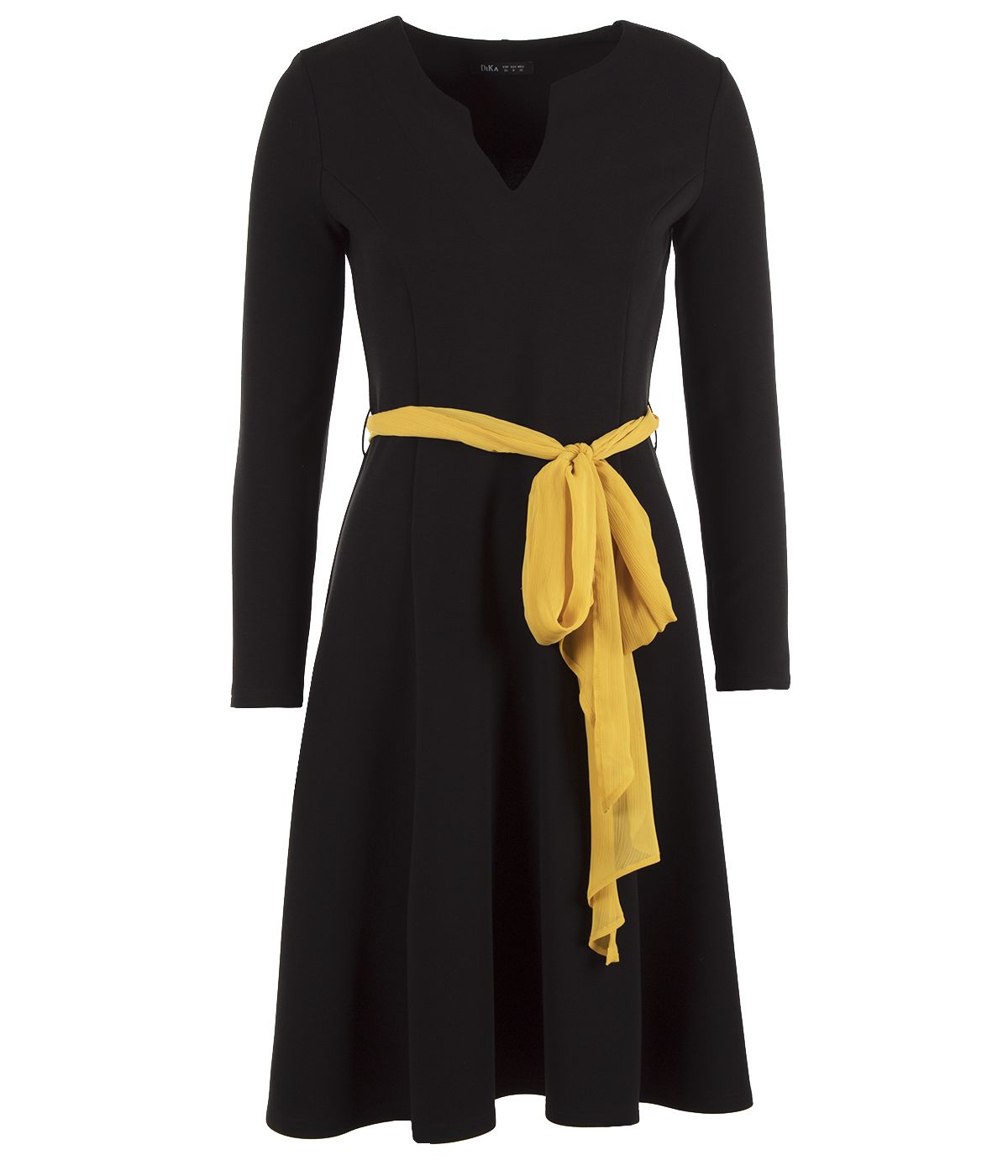 Elegant dress with rayon and silk, with contrasting textile belt 0